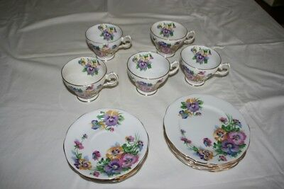 """Vintage Pansy Teaset Queen Anne """"Spring Melody"""" Fine Bone China England"""