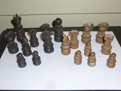 An Antique Part Rosewood & Boxwood Chess Set for Spares 19th C
