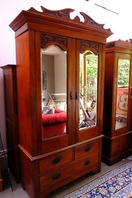 Antique mirror wardrobe with twin hanging space and three drawers
