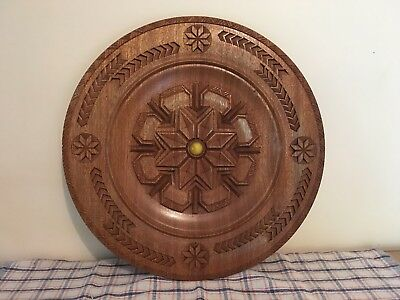 Beautiful & Large Wooden Carved WALL PLATE!