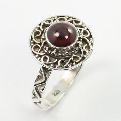 925 Sterling Silver Jewelry Handmade Artisan Ring Size US 7 Real GARNET Gemstone