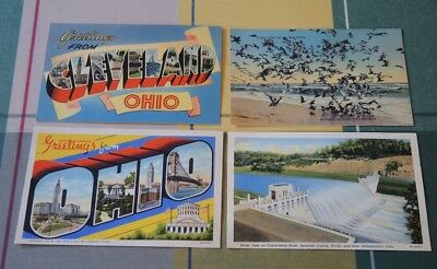 GREETINGS FROM CLEVELAND OHIO + DOVER DAM PAINSEVILLE SEAGULLS c1941 #50