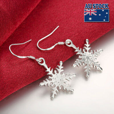 925 Sterling Silver Filled Pretty Snow Snowflake Dangle Earrings Free Shipping