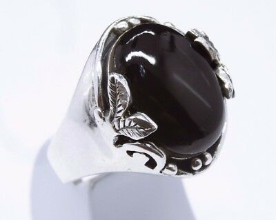 925 Sterling Silver SPECIAL turkish black Onyx Mens Ring Sz 10.5 us FR. RESIZE