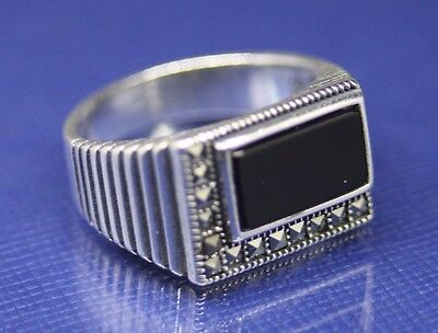 Turkish Handmade 925 Sterling Silver SPECIAL Onyx Mens Ring Sz 9.50 Free Resize