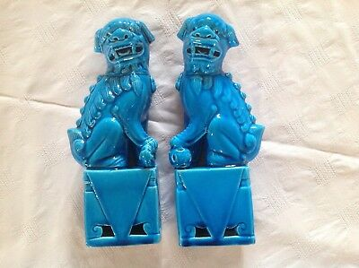 Chinese Turquoise Blue Foo Dogs/guardian Lion Dogs