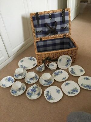 Royal Vale Vintage 1960s bone China blue cornflower 20 piece tea set