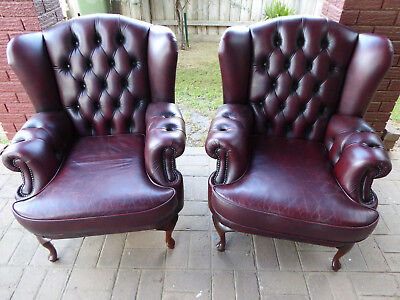 Vintage Rare Gainsville Chesterfield Wingback Armchairs Chairs Claret Ox Blood