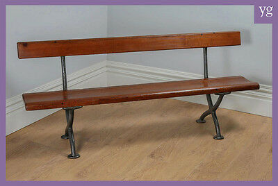 Antique Welsh Victorian 6ft Pitch Pine & Cast Iron Railway Platform Bench Pew