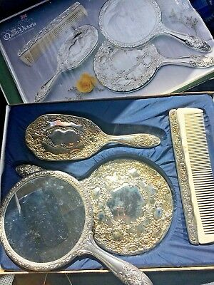 Vintage Vanity Set Brush Comb Mirror Silver Plated Boxed
