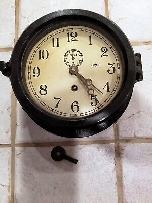 "Chelsea Clock 6"" 1940's ""Marine Mechanical"" with small second hand  working!"