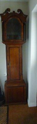 AN EARLY 19th CENTURY OAK AND MAHOGANY CROSS BANDED CLOCK CASE  CASE ONLY