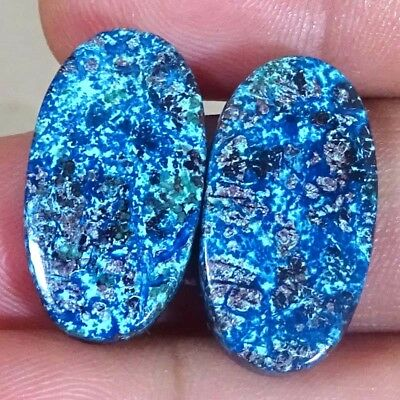 29.00 CTs 100% NATURAL DESIGNER Azurite OVAL CABOCHON ~MATCHED PAIR~ GEMSTONES