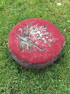 Round Antique Foot Stool With Original Tapestry