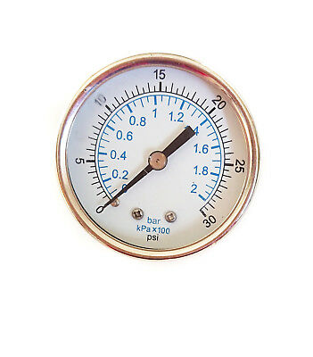 Stainless Steel Pressure Gauge 0/30 PSI 0/2 Bar 50mm 1/8 BSP Rear Connection