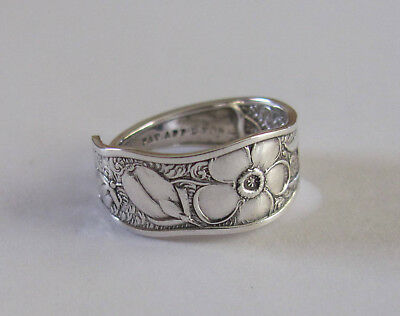Sterling Silver Spoon Ring - Towle / Orchids - size 6 (6 to 7) - 1887 - Jewelry