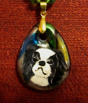 Japanese Chin hand painted on teardrop glass pendant/bead/necklace