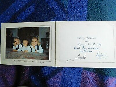 Juan Carlos I of Spain and Queen Sophia RARE hand signed Christmas card 1969