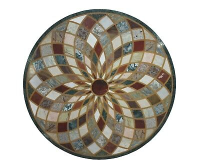 "Round Handmade 48"" Indian Multi Stone Unique Inlay Floral Marble Table Top US5MT"