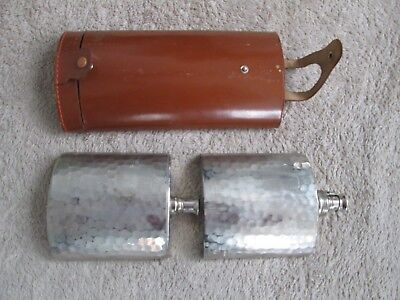 Vintage Post-War Germany Double Flask Leather Tin Lined By Herz