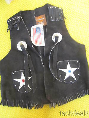 New Vintage Black John R Craighead Leather Kids 8 Black Western Cowboy Vest