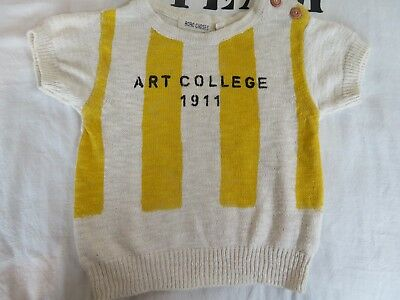 Bobo Choses Yellow Striped 'Art College 1911' Summer Jumper. 18-24 Months.
