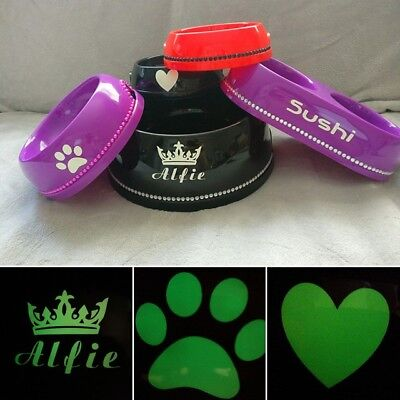 Glow in the Dark Personalized Diamond Pet Dog Cat Food Water Bowls S M L XL