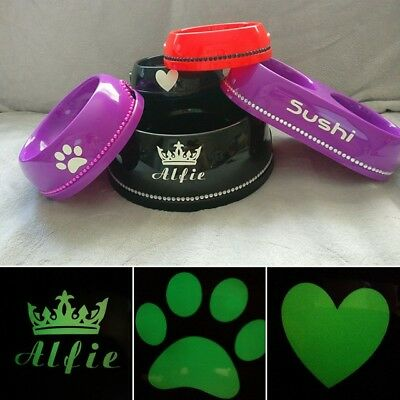 Personalised Diamond Pet Dog Cat Puppy Food Water Bowls W/ Glow in Dark Option