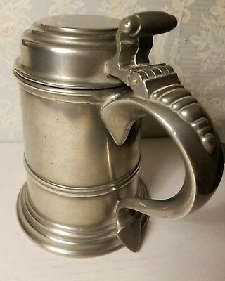 vintage INTERNATIONAL SILVER CO. PEWTER LIDDED STEIN, MEDIEVAL LOOK