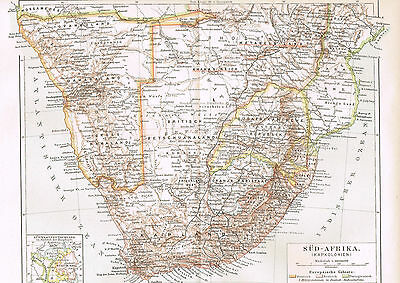 Südafrika Kolonien Landkarte 1897 - Deutsch-Südwestafika - South Afrika - Map