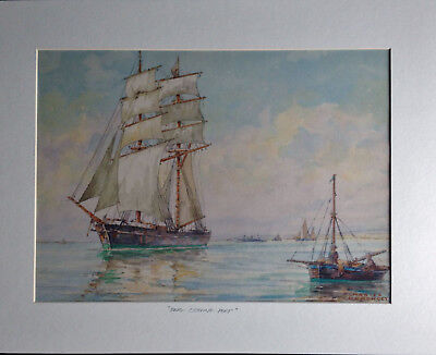 Maritime Watercolour Brig Leaving Port Charles F. Humphrey Sussex