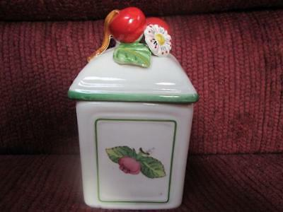 Villeroy & Boch French Garden Charm Jam/jelly Jar ?cherries & Flower On Top Used