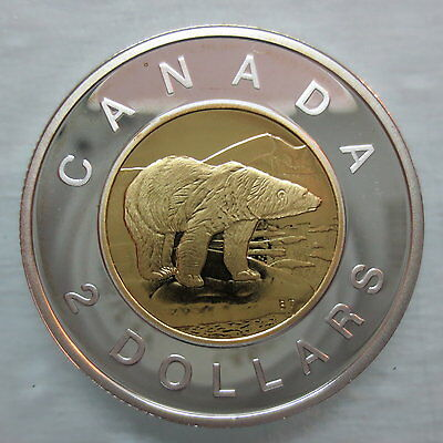 2004 Canada Toonie Proof Silver With Gold Plate Two Dollar Coin