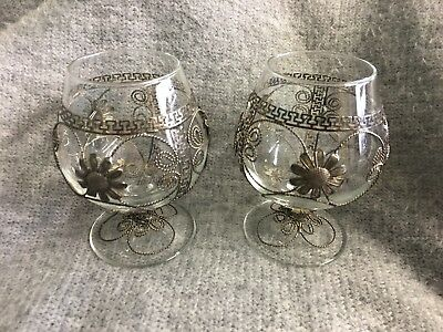 Pair Of Vintage Silver Filigree French Luminarc Brandy Glasses