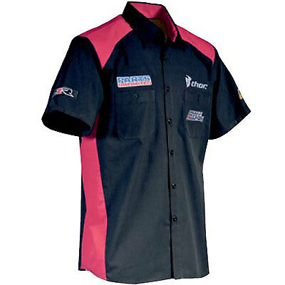 Throttle Threads Shop Shirt Mens Button Up Team Parts Unlimited Black/Red LG