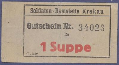 WWII occupied Poland - Krakau - military -soldiers 1 soup bon - more on ebay.pl