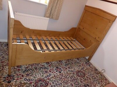 Antique Solid Pine Sleigh Standard Single ( 3ft wide ) Bed with Pine Slat Base
