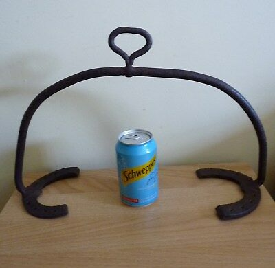 Irish wrought iron and horse shoe griddle holder - very rare