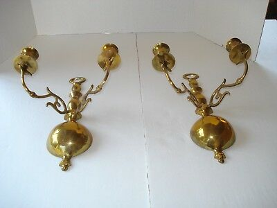 Pair of Brass Wall Sconces ~ Holds 2 Taper Candles Each ~ Vintage
