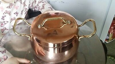 Vintage Copper Cooking Pan Brass Handles Tin Lined
