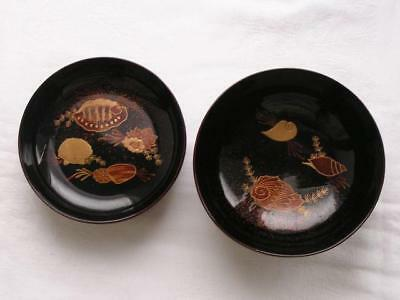 Antique Japanese lacquer chawan with sea shells 1900-15 A/F #4274A