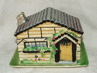 A 1950s VINTAGE BESWICK No 252 Log Cabin Cheese Dish GOOD con
