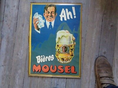 AH! BIERES MOUSEL  LUXEMBOURG  G-D. old reclame beer sign cadre not new