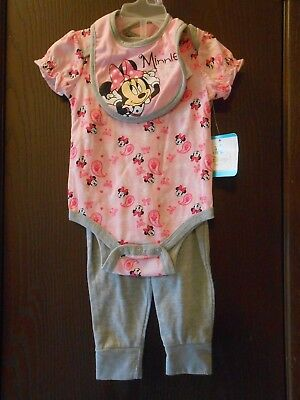 Nwt Infant Girls Disney Baby Minnie Mouse Short Sleeve 3-Pc Set Size 6-9 Mos