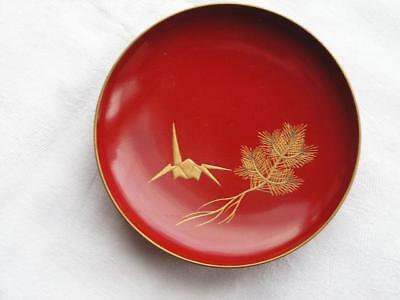 Antique Japanese lacquer sake cup with origami crane and pine 1900-15  #4061