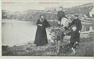 IRISH LADIES BOYS Donkey Goat Back from Fair Emerald Series Vintage PC c1910