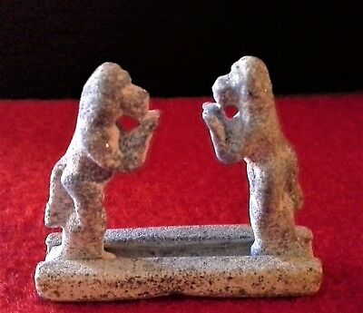 Matched Pair of Egyptian Carved Lapis Baboons on Stand - With Artemission COA