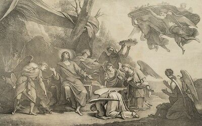 F.PILOTY (*1786) nach LE SUEUR(*1616), Himmelsbrot oder Manna, Lithographie