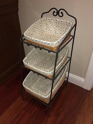LONGABERGER Wrought Iron Basket Organizer Rack complete set - 3 baskets w/liners