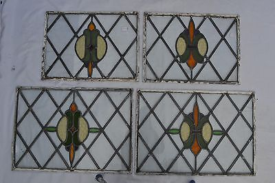 4 SCRAP leaded light stained glass windows panels S294. WORLDWIDE DELIVERY!